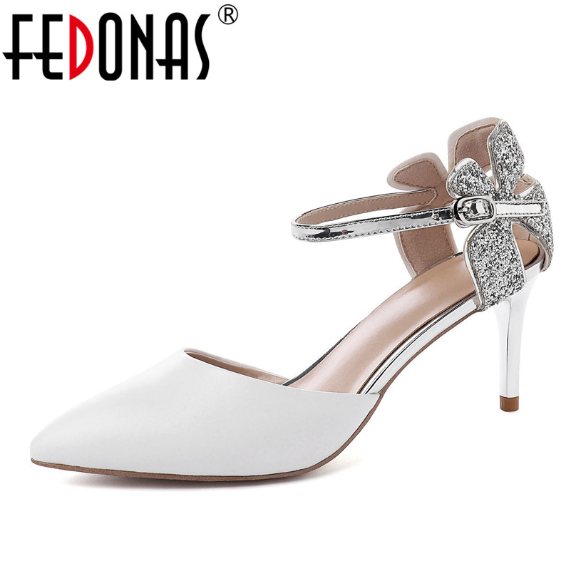 FEDONAS Fashion Sweet Women Pumps Top Quality Genuine Leather Wedding Party Shoes 2019 Spring Summer Pointed Toe Shoes Woman FEDONAS Fashion Sweet Women Pumps Top Quality Genuine Leather Wedding Party Shoes 2019 Spring Summer Pointed Toe Shoes Woman