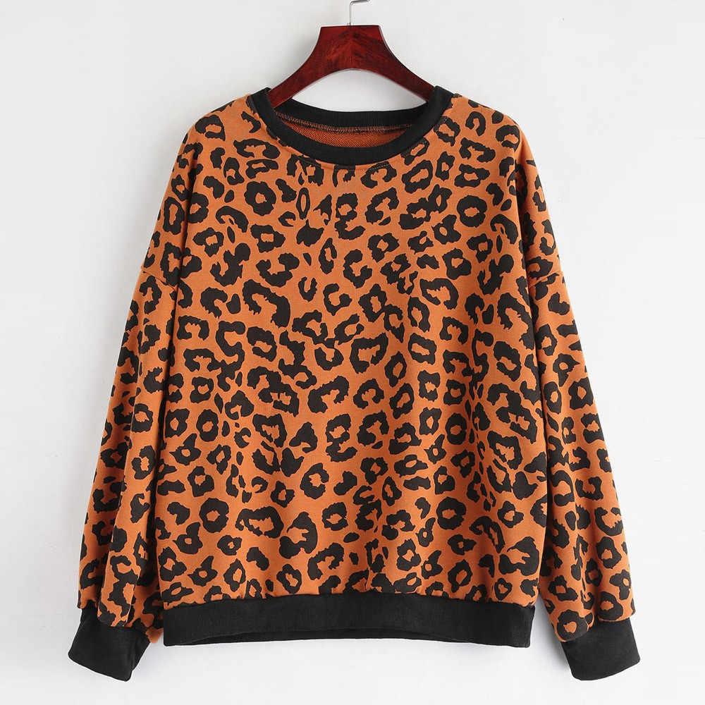 bd2fef3822 t shirt women Ladies Fashion Leopard Print O Neck Casual Top T Shirt Ladies  Long Sleeve