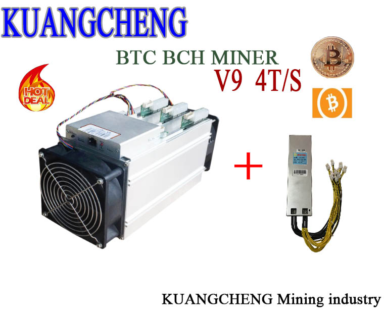 Free Shipping KUANGCHENG Mining Industry BITMAIN V9 4TH With Power 1800w AP188c PSU Asic Btc Works At BCC Btc Pcc Sha256 Recipe