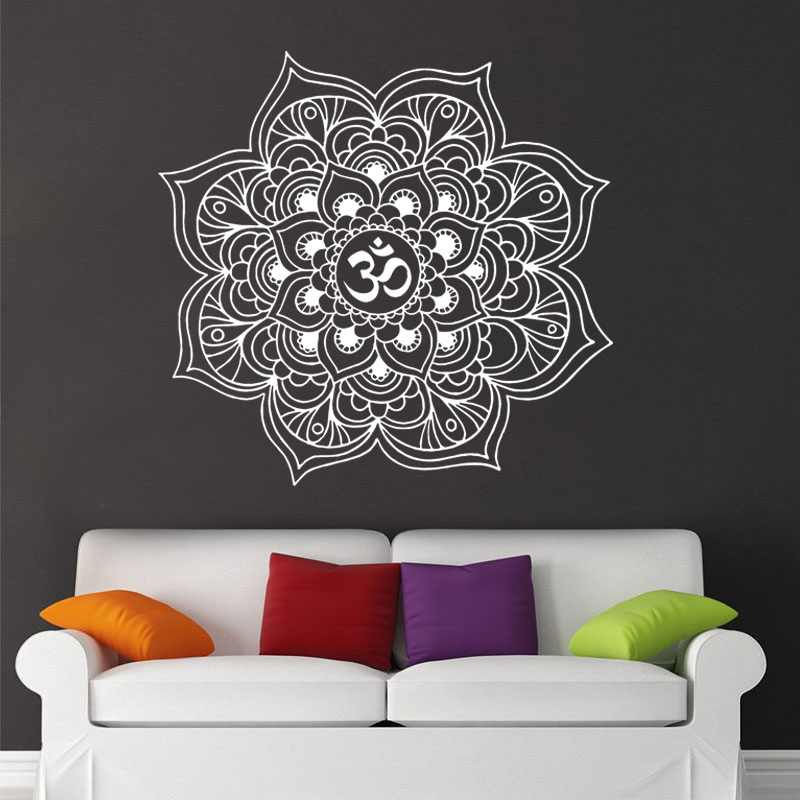 Mandala Autocolante de perete Decor Indian Yoga Oum Om Semnal Decal Vinil Dormitor Art Art Indian Sticker de perete Amovabil Decal Mandala M602