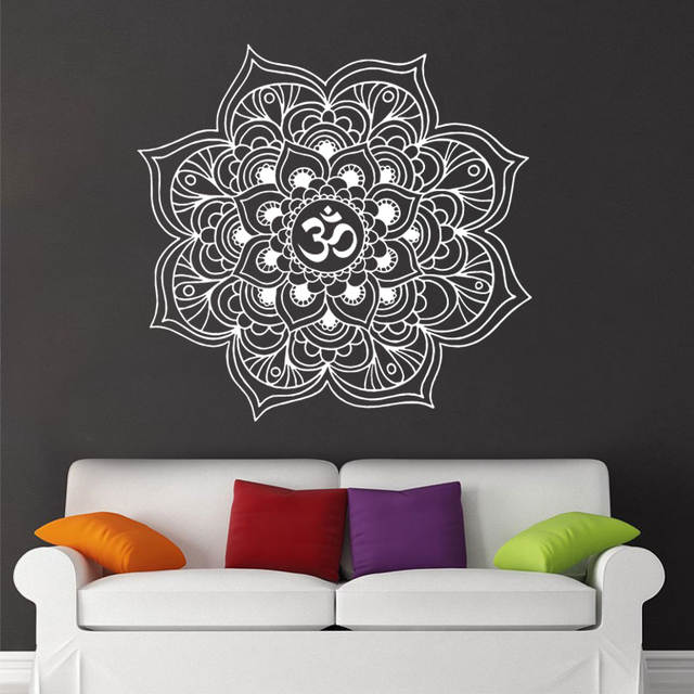 online shop mandala wall stickers decor indian yoga oum om sign