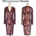 Женщины одеваются Новый стиль колен Горячий стиль Прямо Вскользь платье Леопарда Сексуальная девушка V-образным Вырезом