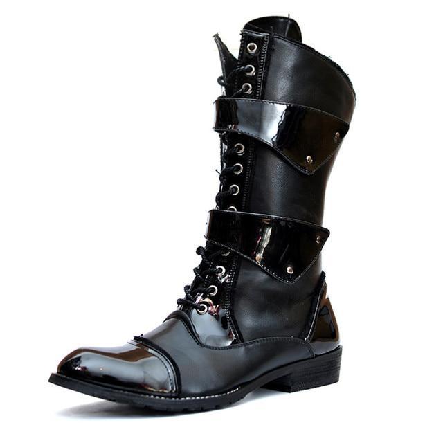 New arrival 2017 Mens Grosso Sole Lace up Apontado Toe Botas Martin Do Vintage Botas de Médio perna Primavera Botas Militares Motocicleta