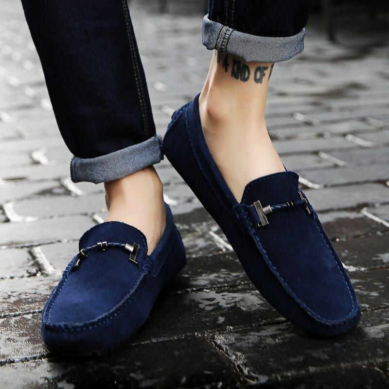 Весенняя новая кожаная мужская обувь в горошек мужская кожаная обувь с мягкой подошвой и ручной строчкой кожаная мужская обувь для вождения - 5