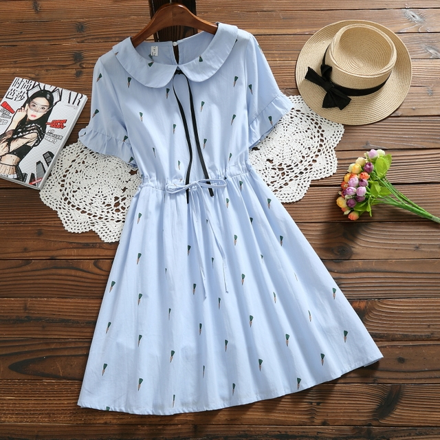 426e10bfba55 Japan Style Summer Women Kawaii Dress Peter Pan Collar Carrot Pattern White  Blue Female Elbise Elegant Cotton Linen Sweet Dress