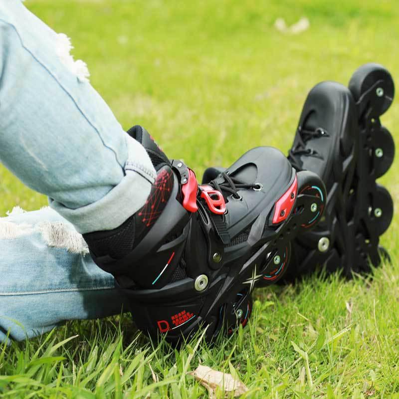 Or noir Adultes de Patin À Roues Alignées Professionnel Chaussures Patines Freestyle Extérieur Roller Chaussures Sneakers Chaussures de Sport - 2