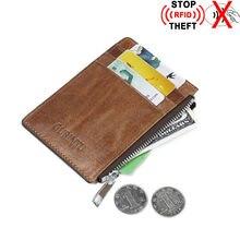 Для мужчин Натуральная кожа банк Credit Card Holder RFID Блокировка деньги Женские Кошельки Драйверы Лицензия ID визитница молния небольшой дорожный кошелек