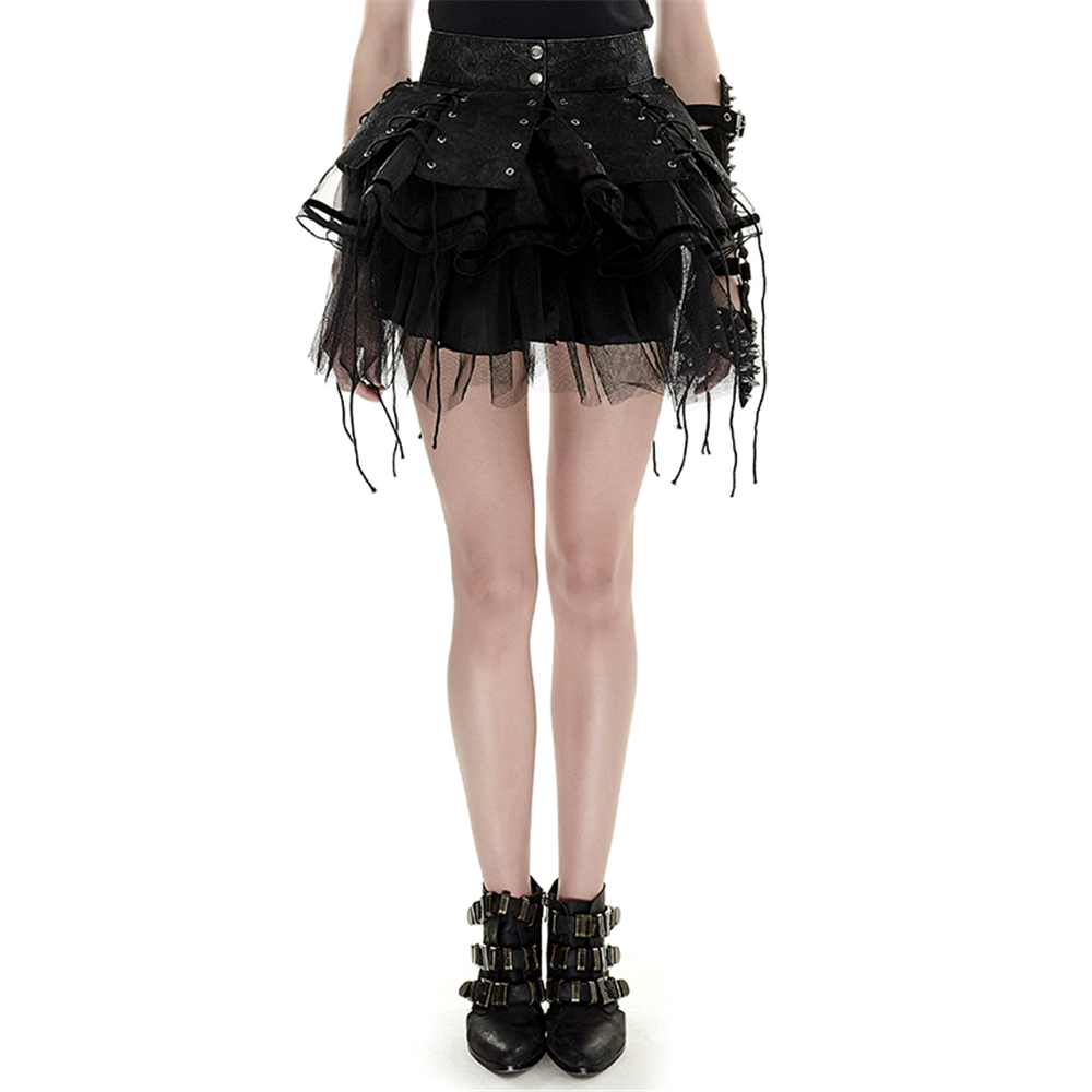 Cosplay Two piece Spiky Mesh Pettiskirt with Straps Punk Gothic Bandage Organza Ribbon Ball Gown