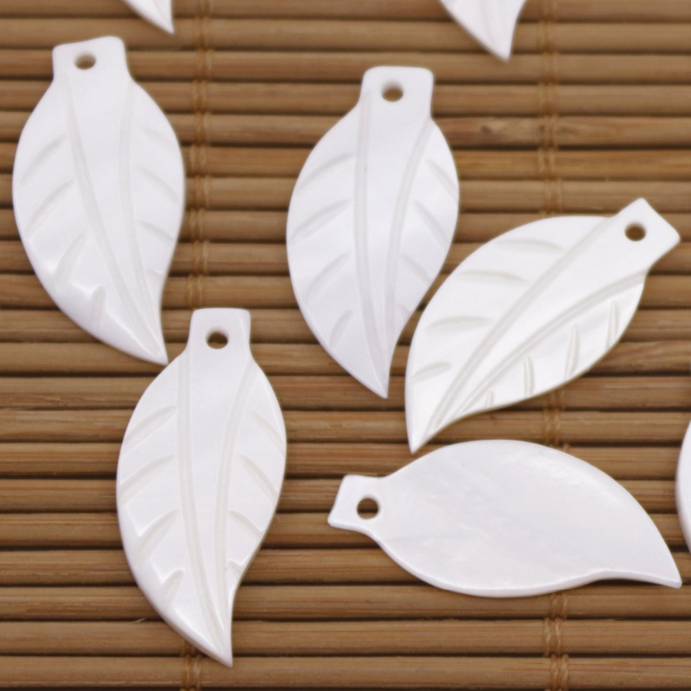 Купить с кэшбэком 10 PCS Leaf Shell Charms Pendants Natural White Mother of Pearl Loose 12mmX25mm