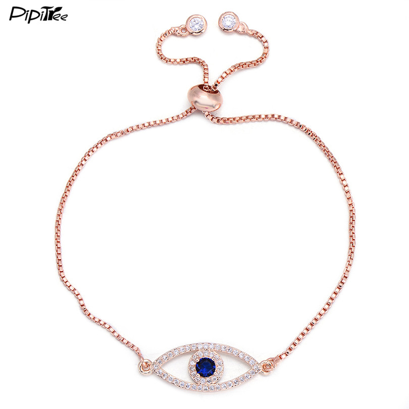 Pipitree Shiny Blue Zircon Evil Eye Charm Bracelet Women