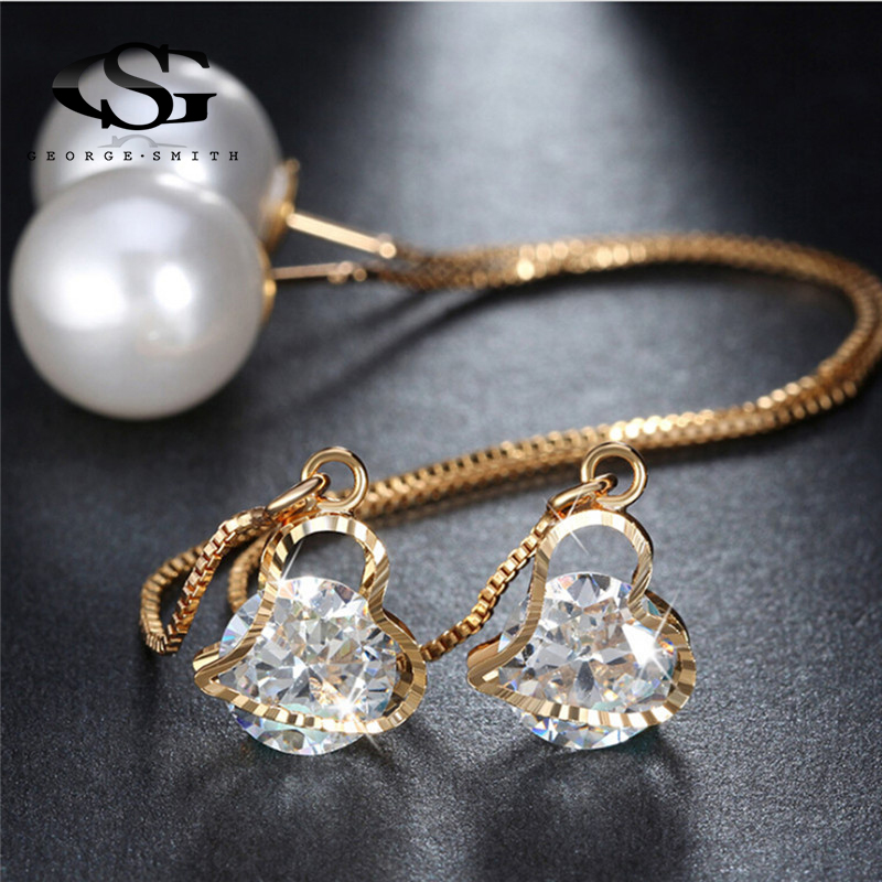 Drop Earrings Earrings Open-Minded Gs Elegant Water Drop Shaped Cubic Zirconia Pendientes Earrings For Women Gold Crystal Earings Fashion Jewelry R4 Exquisite Traditional Embroidery Art