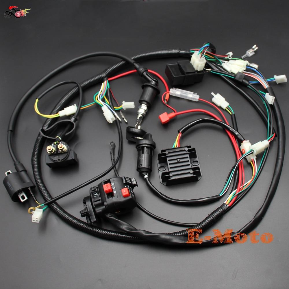 medium resolution of full electrics wiring harness cdi ignition coil key c7hsa spark plug for 150cc gy6 atv quad