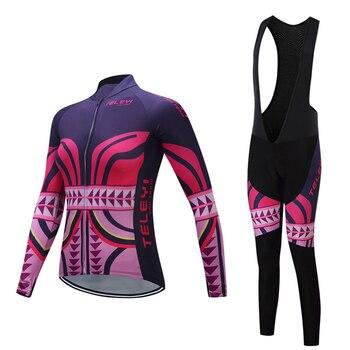 2019 camisa de ciclismo feminino de manga Longa calças jardineiras roupas bicicleta de estrada conjunto desgaste Mulheres roupas Pro bicicleta kit Esporte vestido MTB terno