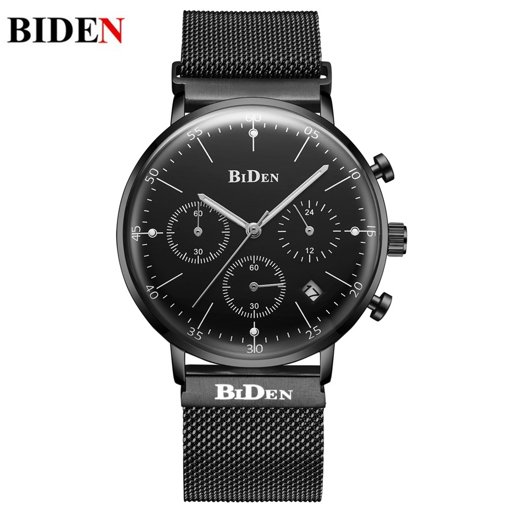 BIDEN Fashion Casual Luxury Brand Watch Men Black Milanese Magnetic Stainless Steel Mesh Milanese loop Strap Chronograph Watches milanese loop page 3