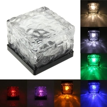 Solar Powered Panel Brick Path Crystal Glass Shape LED Power Light For waterproof Garden Lawn  Ice lamps