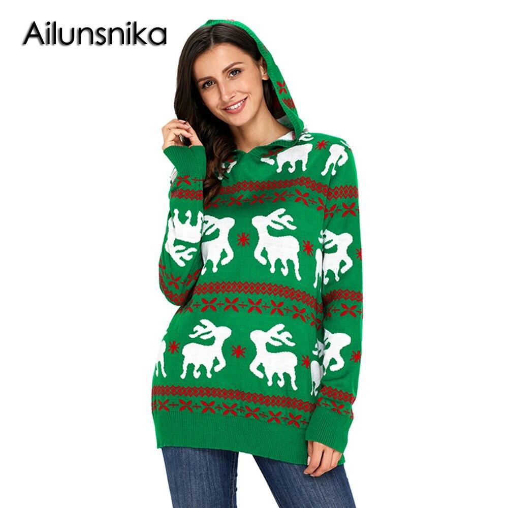 Ailunsnika Cute Reindeer Knit Green Hooded Sweater Popular Women Designful Christmas Pullover Sweate Warm Winter Outerwear Tops
