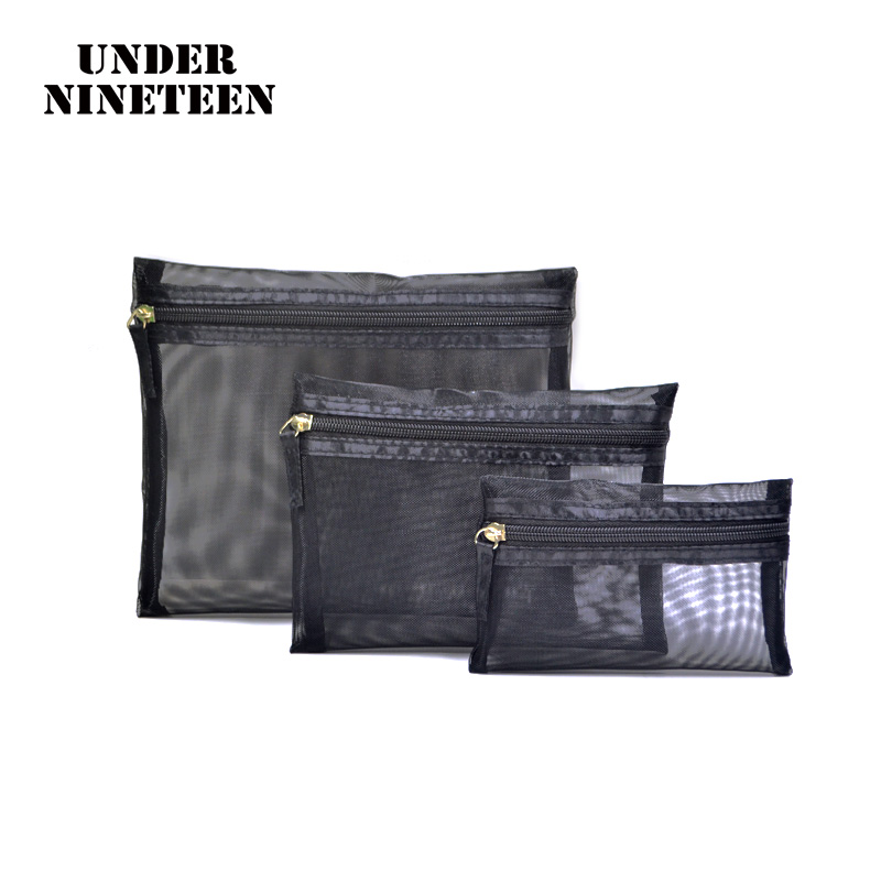 Under Nineteen 2017 3pcs/set Fashion Brand Cosmetic Bags Neceser Portable Make Up Bag Women And Men Pouch Travel Toiletry Bag aosbos fashion portable insulated canvas lunch bag thermal food picnic lunch bags for women kids men cooler lunch box bag tote