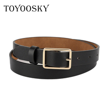 TOYOOSKY Designers Women Belts PU Leather Square Pin Buckle THIN Belts for Jeans Dress All-match Belts for Female Cinturon Mujer trendy pu leather square neck overall dress for women