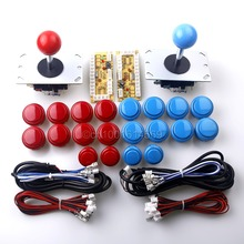 Arcade Game DIY Parts 2x Zero Delay USB Encoder + 2x 8 Way Joystick + 20x Arcade Push Buttons for Mame & Fighting Games Blue-Red