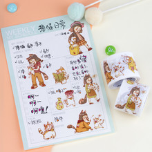 sticker scrapbooking cartoon girls & cat washi tapes DIY diary planner notebook Label scrapbook stickers kids handbook deco sticker scrapbooking cute girls planner book cartoon washi tapes label diy diary bullet journal kids handbook deco stickers