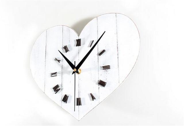 PINJEAS Pastorable Retro Heart Digital Wall Clocks Home Decor Bedroom/Office/Kitchen Wall Clock  Wooden Crafts Best Gifts