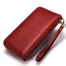 Women Leather Wallet Long Trifold Coin Purse Card Holder Money Clutch Wristlet Multifunction Zipper