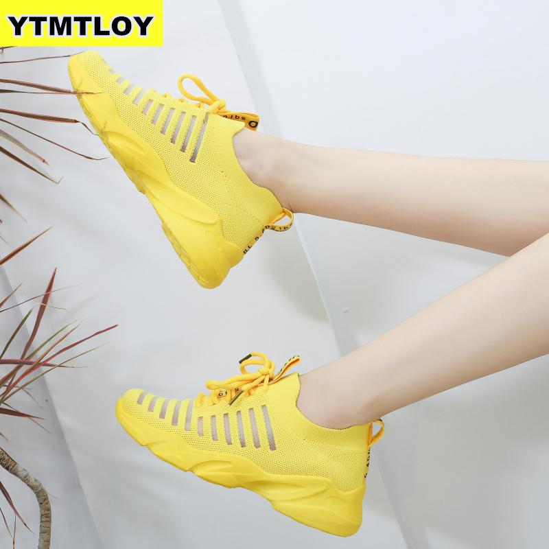 Sneakers Women Mesh Lace-Up Solid Flat Platform Shallow Stretch Fabric Knited Spring Autumn Wedges Shoes For Zapatos De Mujer 26