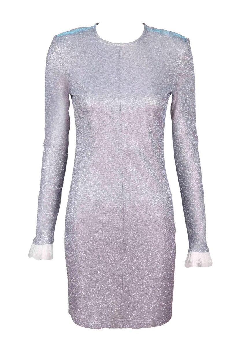 Pleine cou Club Mode Robe Mini 2018 O Gris Nouveau En Sexy Offre Celebrity Night Paillettes Spéciale Style Femmes Con Corps Gros Robes xIW87680