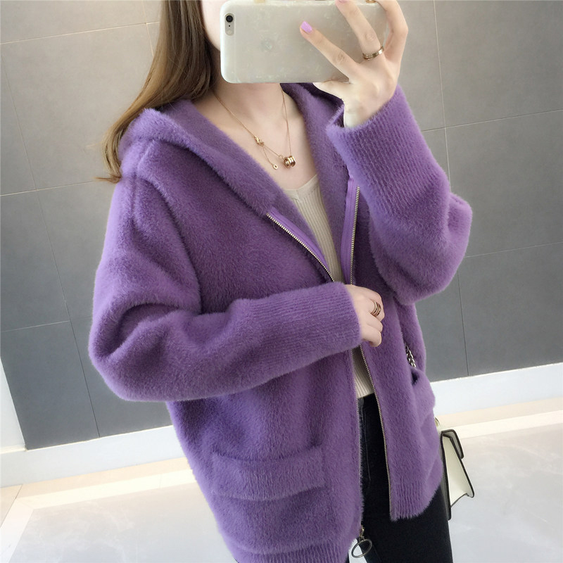 2019 Woman New Autumn And Winter Sweater Coat Loose Hooded Solid Color Knit Cardigan Large Size