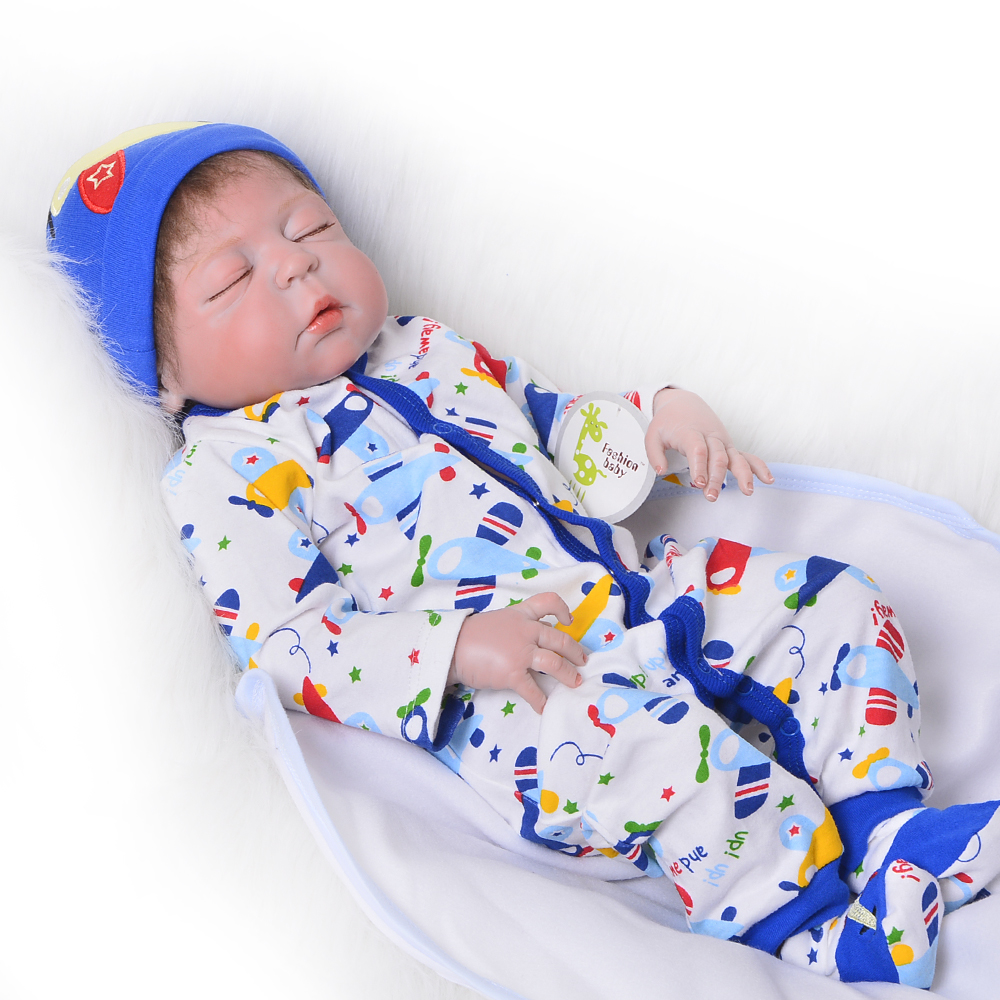 Collectible 23 Inch Reborn Dolls 57 cm Full Silicone Vinyl Newborn Doll Realistic Sleeping Boy Baby Doll Toy Child Birthday Gift цена