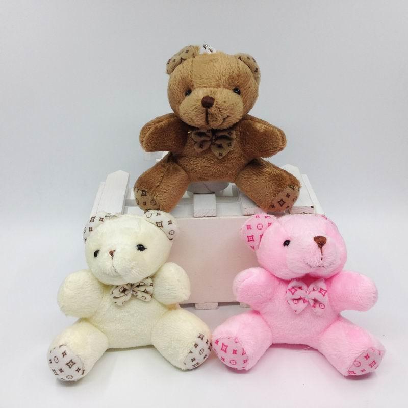 Сидит Плюшевый Медведь с бантом Подвески мягкие Игрушечные лошадки мягкие Куклы для сумка/брелок/букет/Baby Show подарок 9 см (3.6 ) x12pcs