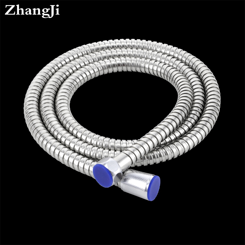 ZhangJi Stainless steel 1.5m shower hose soft shower pipe Flexible Bathroom water pipe Silver color common plumbing hoses  ZJ061  цены