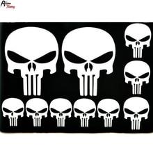 White The Punisher SKULL PVC Sticker Badge Car Trunk Rear Boot Wind Side Emblem Decal Fit E90 E92 E93 F01 F02 F03 F04 F10