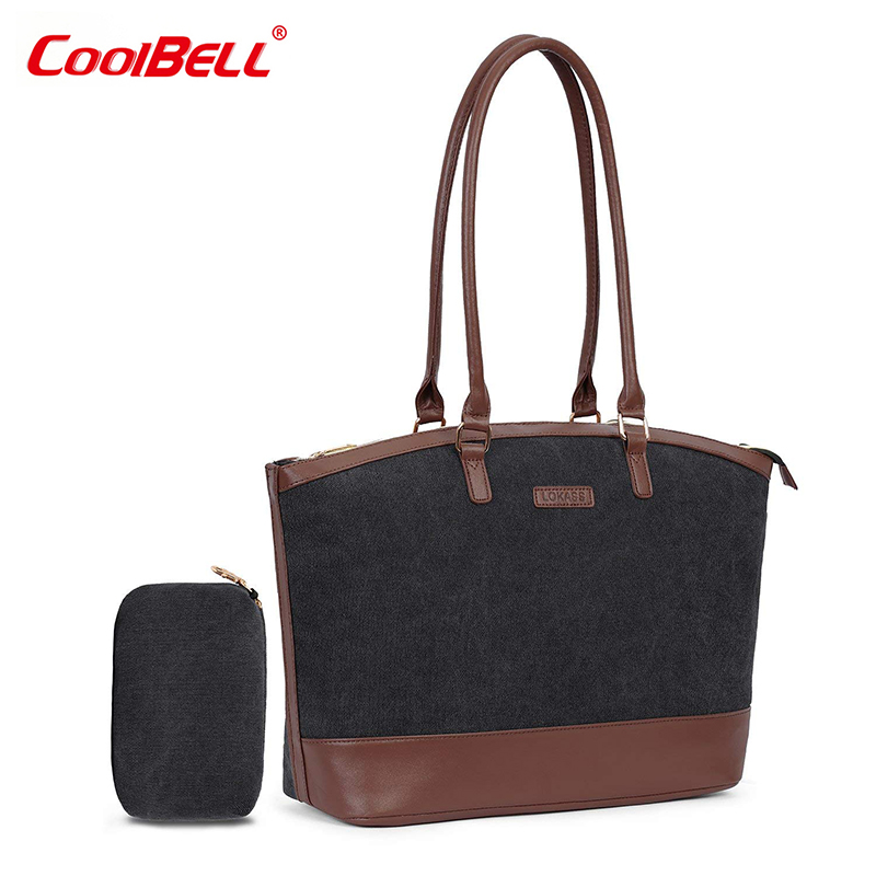 CoolBELL 15.6 Inch Laptop Tote Bag Lightweight Nylon Briefcase Travel Shoulder Bags Classic Casual Office Handbag for Woman coolbell fashion women tote bag 15 6 inch laptop handbag nylon briefcase classic laptop bag shoulder bag top handle bag