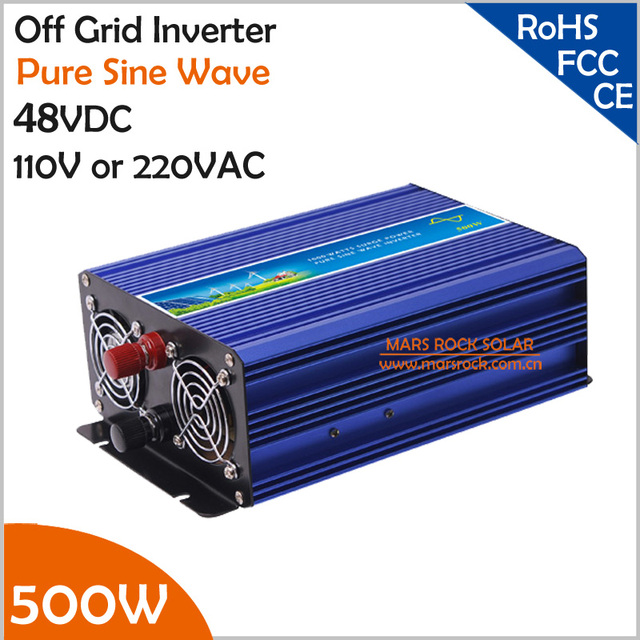 48VDC Off Grid Inverter, 500W Pure Sine Wave Inverter for 110VAC or 220VAC Appliances in Solar or Wind Power System