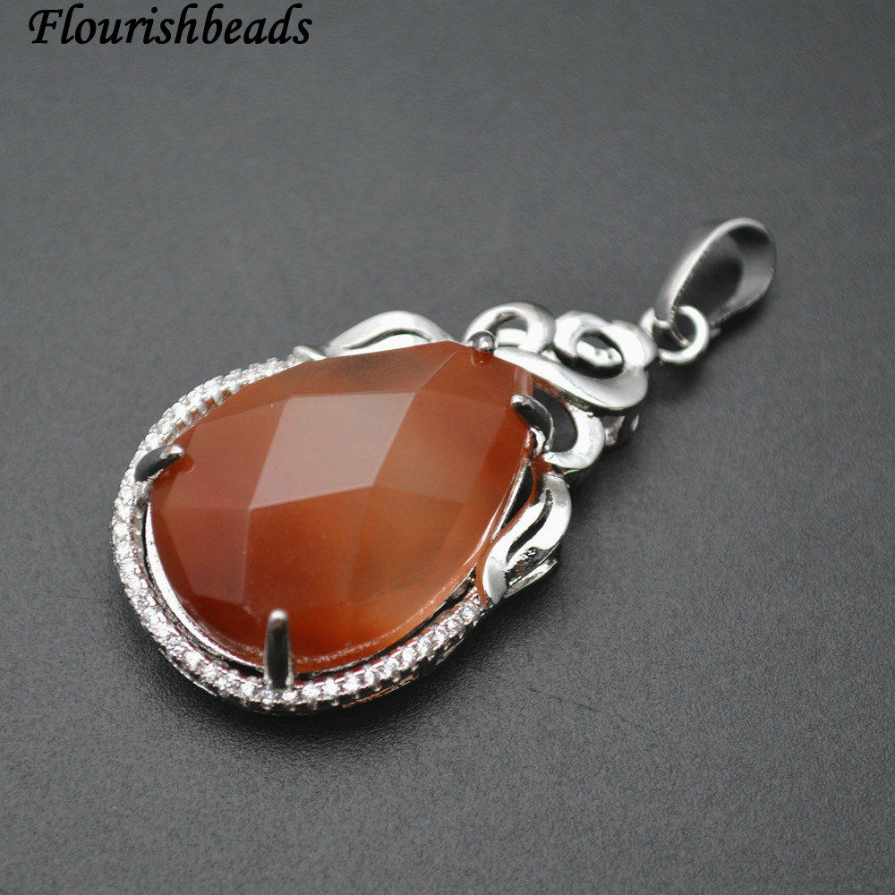 Surface Cutting High Quality Natural Red Agate Carnelian Pear Shape CZ Beads Setting Metal Frame Stone Pendant