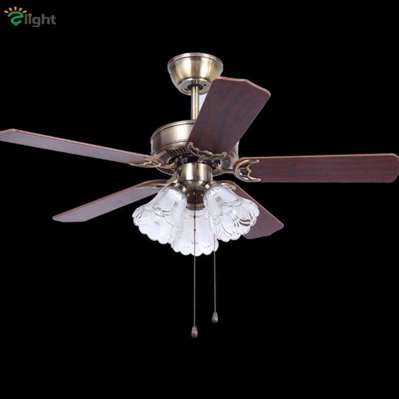 Persevering Retro Wood/metal Leaf Led Ceiling Fans Lamp Lustre Bronze Glass Dining Room Led Ceiling Fan Lighting Simple Ceiling Fan Lights And Digestion Helping Lights & Lighting Ceiling Fans