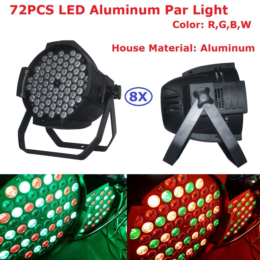 8XLot Hot Sales Led Par Can 72X3W RGBW Led Par Light Strobe DMX Controller Party Dj Disco Bar Strobe Dimming Effect Projector