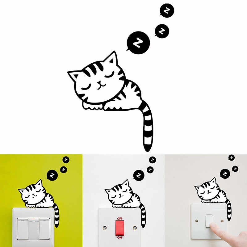 DIY Funny Cute Sleeping Cat Dog Switch Stickers PVC Waterproof Wall Decal Home Decoration Bedroom Living Room Decoration