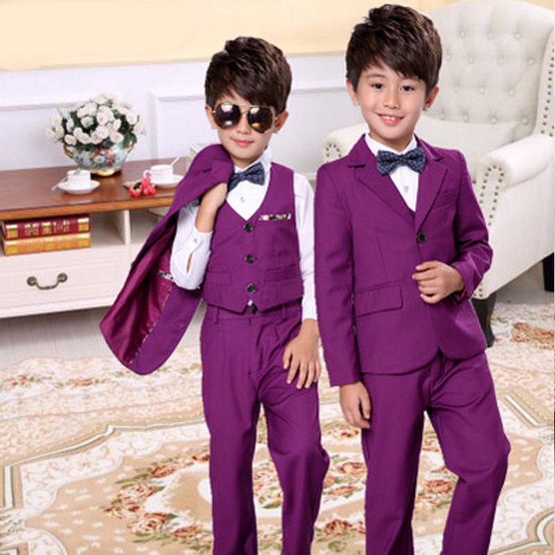 2018 new style children's fashion suit jacket British style solid color casual boy performance performance dress suit 3pcs / set fashion style