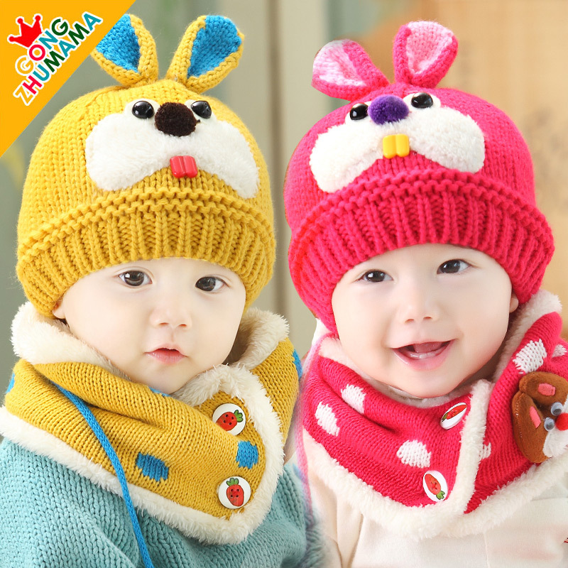 Baby Infant Winter warm Hat and Scarf Set Beanie Baby hat new winter baby hat rabbit ear hat hedging cap baby scarves