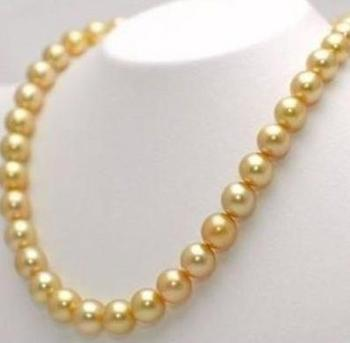 Beautiful 9-10mm tahitian gold pearl necklace choker 19 inch
