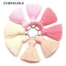 Chengrui borlas em algodão l46, 2cm, com borlas, mini borla, acessórios para joias, acessórios diy, materiais de brincos, 10 pçs/saco