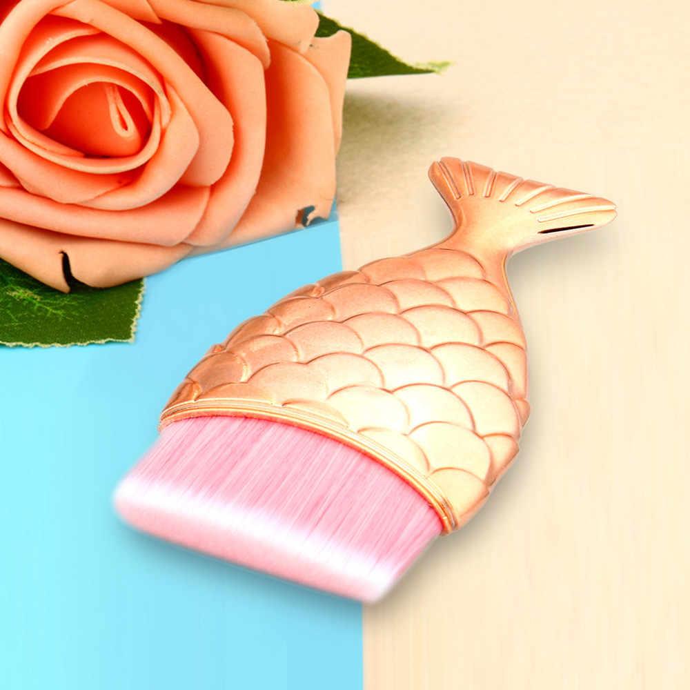 Mermaid Vis Schaal Make Fishtail Bodem Poeder Blusher Cosmetische Brush Rose gold fishtail foundation brush make-up borstel H30401