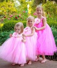 2016 fairty принцесса dress1Y-8Y Белый Цветок Девочки Платья Балетной Пачки На День Рождения Фото Свадебный Фестиваль Партия Девушки Цветка Платья