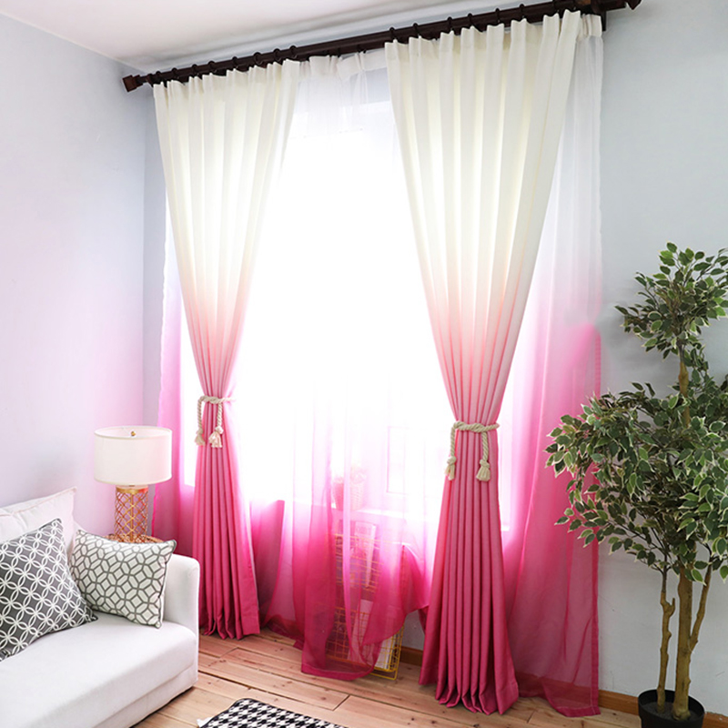 Gradient Rose Red Thick Curtains For Living Room Kitchen
