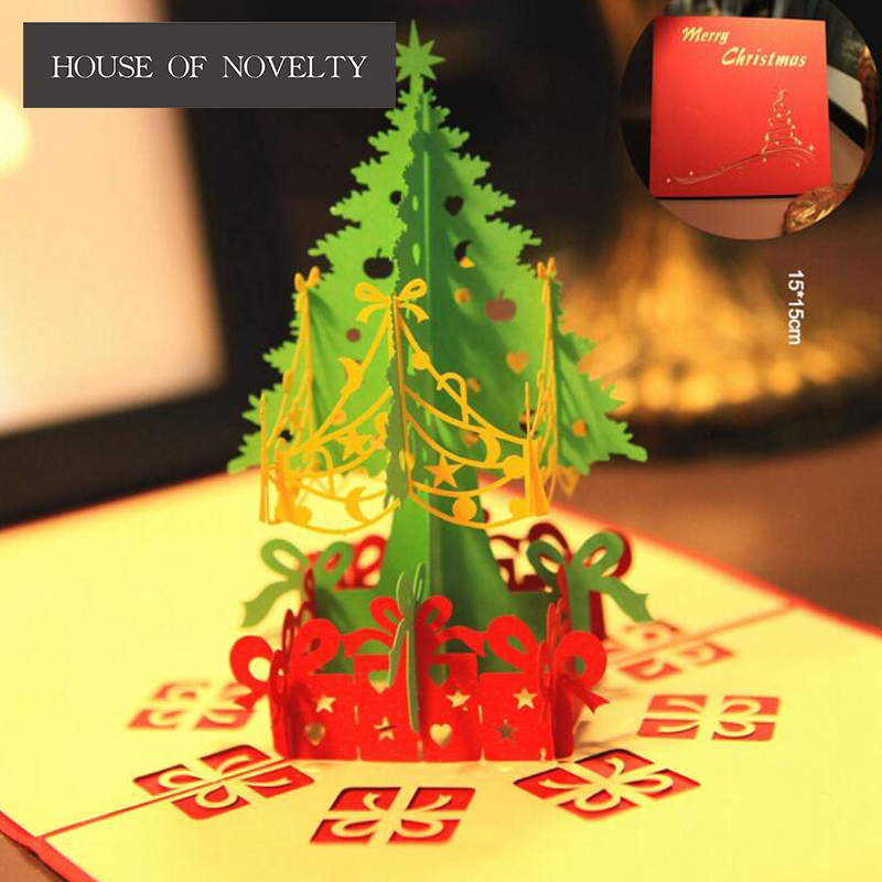 New Year Christmas Tree Merry Christmas 3D Greeting Card Postcard Birthday Gift Card Set Message Card Letter Envelope Gift Card