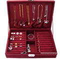 Velvet Large Capacity Studs Earrings Rings Necklace Storage Case Jewelry Box NEW 99