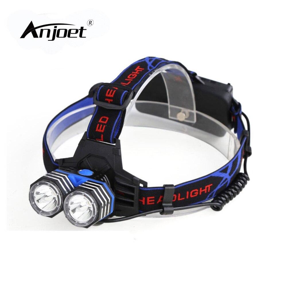 ANJOET 18650 / AAA / AA Headlamp Lantern LED Head Flashlight 5000lm 2x XM-L XML T6 Headlight Hunting Climbing Bike