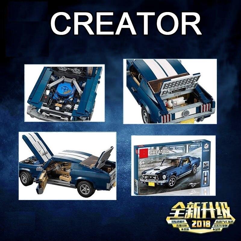 Oyuncaklar ve Hobi Ürünleri'ten Bloklar'de Yeni yaratıcı şehir serisi Ford Mustang modeli yapı taşları uyumlu Legoinglys 10265 klasik teknik araba styling oyuncakları'da  Grup 3